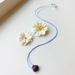 Copper Purple Turquoise Teardrop Necklace